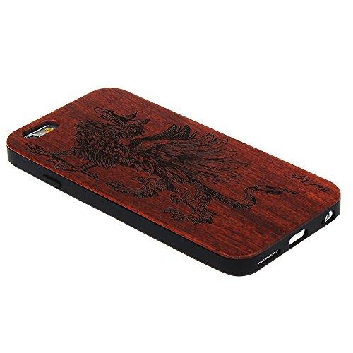 Echtem Holz Schutz für iPhone 7 4.7 Zoll Forepin® Ultraslim Handyhülle mit Hart PC Bumper Cover Case, Stamm Tier