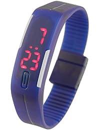 Beauty7 Reloj de Goma Unisex Digital LED Electrónico Impermeable Correas PU Reloj de la Fecha Deportes Reloj de Pulsera Azul
