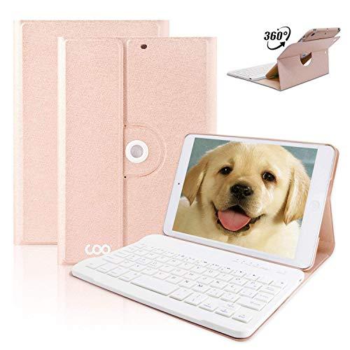 COO Funda Teclado iPad Mini, Funda para iPad mini 1 / 2 / 3 con Teclado Español Bluetooth Extraíble Inalambrico, 360 Grados de Rotación y Soporte de Varios Ángulos (Champán)