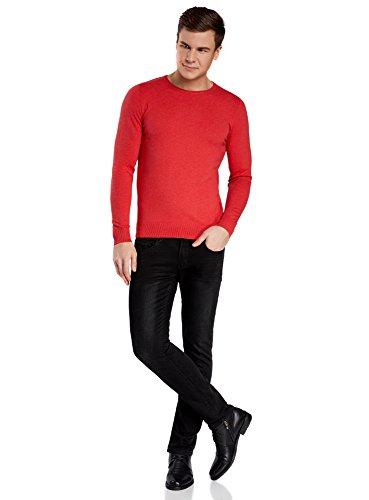 oodji Ultra Herren Pullover Basic mit Rundhalsausschnitt Rot (4300M)