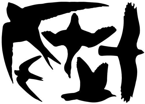 Esschert Design 5 Stück Fenstersticker, Vogelaufkleber, 1 Bogen mit 5 Aufklebern in schwarz