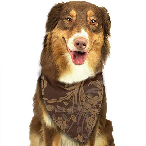Wfispiy Flower Brown Background Pattern Fashion Pet Bandanas Dog Car Neck Scarf for Unisex Pet Boy Girls