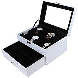 Uhrenbox für 20 Uhren Leder Uhrenkoffer Uhrenschatulle Uhrenvitrine Uhrenkasten