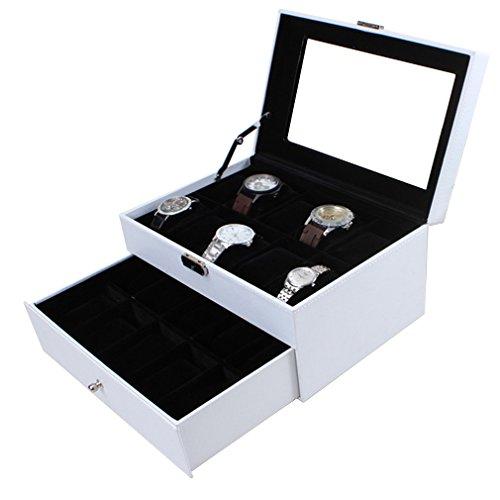 Preisvergleich Produktbild KYD Uhrenbox Uhrenkoffer Herren Frauen Uhrenkasten für 20 Uhren Uhrenschatulle aus Kunstleder Uhrenvitrine in Schwarz (innen) + Weiß (außen)