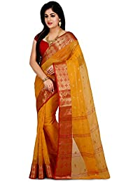 Wooden Tant Yellow & Red Cotton Handloom Saree With Zari Buti Work For Women