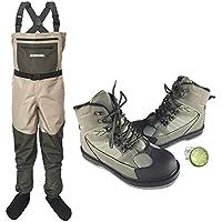 Muchen - Pantalones de caza para pesca con mosca con zapatos acuáticos, ropa portátil en el pecho, impermeable