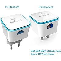 Repetidor de Wi-Fi (2.4GHz 300Mbps) para Ampliar la Señal Amplificador Extensor de Red Inalámbrico (Paquete de 1 EU Estándar) MRE120 de Meross