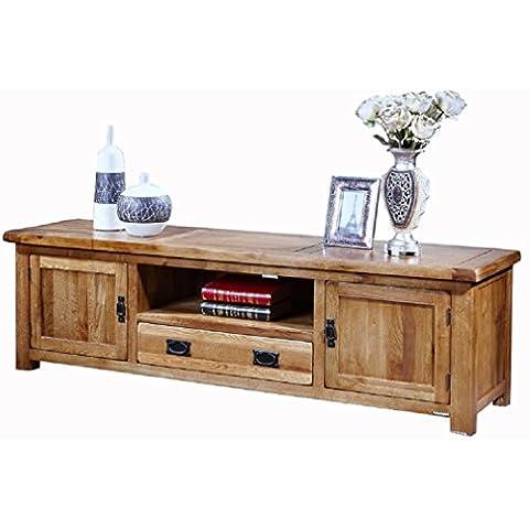 HUAYI 100% puro de televisión de madera maciza de roble soporte de la TV Soporte Medios consola de mesa de madera maciza de TV Unidad Gabinete de almacenamiento (150cm * 40cm * 54cm)