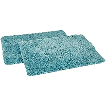 Amazon Brand - Solimo Premium Anti-Slip Microfibre Bathmat - 60cm x 40cm, Dusty Turquoise, Pack of 2