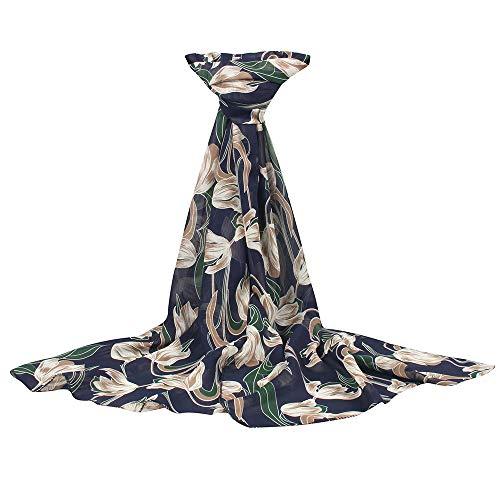 Xmiral Damen Schal Sonnencreme Floral bedruckt weichen Chiffon Schal Wild Wrap bunte niedliche...