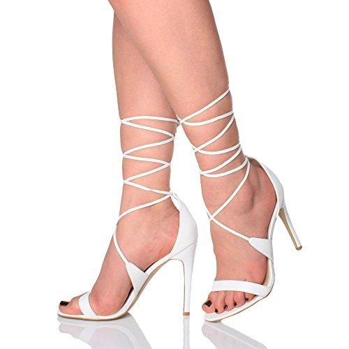 Talon Haut Des Femmes Juste À Peine Là Strappy Chaussures Sandales En Dentelle Chaussures Taille Matt Blanc