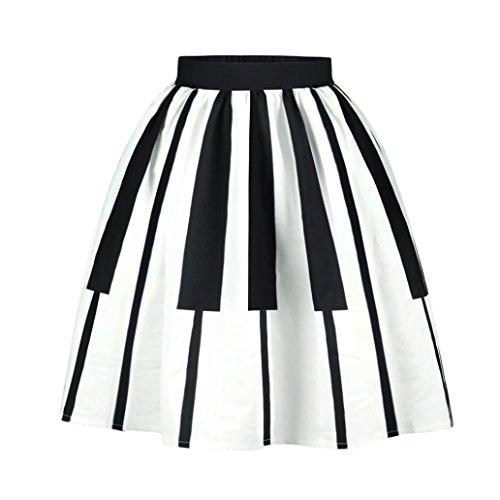 Jupe Rétro Vintage noir blanc, Koly Politesse des femmes Squid Fancy Print Pattern Mini taille du genou Patineur Robe de soirée de cocktail B