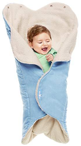 2009 Fleece (Wallaboo Einschlagdecke für Babyschale, Autokindersitz, für Kinderwagen, Buggy, Babybett, Schönen Blumenform, Veloursleder und fleece, 85 x 85 cm, 0 - 12 Monaten, Farbe: Blau)
