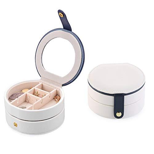 RUNI MO Portable Travel Jewellery Box - Damen Schmuck Accessoires Leder Organizer - Doppelschicht Aufbewahrungskoffer mit Spiegel für Ringohrstecker Halskette (White, 4.3 x 4.3 x 2.3 inch) 4.3 Leder