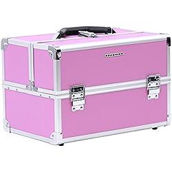 SONGMICS Multiuso Maletín para maquillajes Caja de belleza portable Marco de aluminio Recubierto de ABS 4 bandejas 36 x 24 x 24 cm Color rosa JBC227