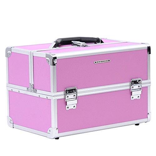 Songmics valigia beauty case valigietta cofanetto porta trucco make up bagaglio a mano organizzatore nail art (rosa) jbc227