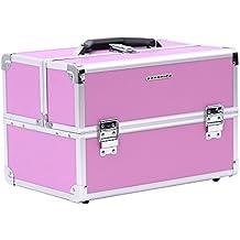 Songmics Maletin para maquillaje alu maletín organizador rosa JBC227