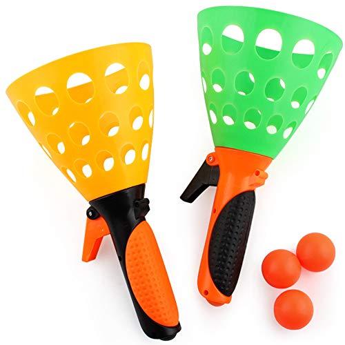Kunststoff Fangballspiel Launch and Catch the Ball Das Original Pop \'N Catch Spiel Doppel Set -Vervollkommnen Sie für Hinterhof, Strand, Heckklappe | Spaß für Kinder und Erwachsene (1set)