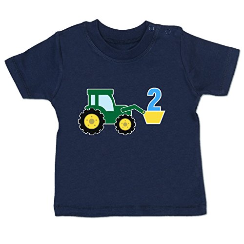 Geburtstag Baby - 2. Geburtstag Traktor - 12-18 Monate - Navy Blau - BZ02 - Baby T-Shirt Kurzarm
