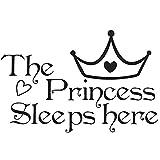 Adesivi Murali Frase Stickers Frasi Scritte Muri The Princess Sleeps Here per Camera da Letto e Dormitorio di Ragazza Principessa Decorazione Parete