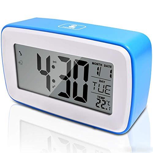 Wecker Mädchen Digital, Wecker Bedside Non Ticking Einfache Tischuhr Silent Travel Clock mit großem Display Snooze Nightlight für Tisch Küche Büro Schlafzimmer Frauen Männer