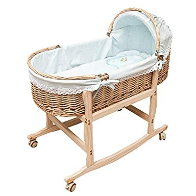 GOUO@ Baby Moses Basket Rattan Portable Cradle Sleeping Basket Newborn Portable Car Baby Soothing Nest Colored Cotton Baby Products