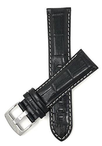 Leder Uhrenarmband 22mm für Herren, Schwarzmit weißer Naht, Hochglanzoberfläche, Alligatormuster, auch verfügbar in weiß, braun, königsblau, und hellbraun