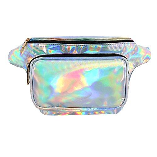 07ed9214b AISI Mujer PVC holograma Fanny Pack Bum Bag bolso bolsa de cintura para  Raves y festivales