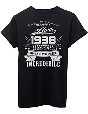 iMage T-Shirt Compleanno Nato AD Aprile del 1938-80 Anni per Essere Incredibile - Eventi