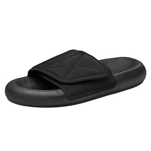 AIni Herren Schuhe Mode Beiläufiges 2019 Neuer Heißer Sommer Paar Mode Rutschfeste Hausschuhe Dicken Boden lässige Hausschuhe Strand Freizeitschuhe Partyschuhe(42,Schwarz)