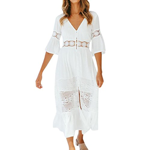 Guesspower Robe Longue Femme Ete Boheme Plage Printemps Robe Chic Retro Robe De Partie Femmes Décontracté Solide V-Neck Dentelle Patchwork Bouton 3/4 Manches Split Maxi Long Dress Blanc
