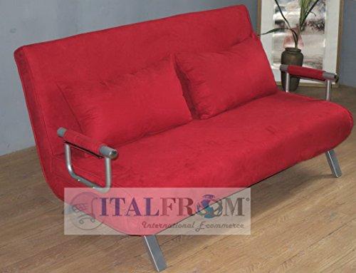 Italfrom divano letto sofà bed rosso divani 155x69x83h divanetti divano letto 2 piazze cod.4033