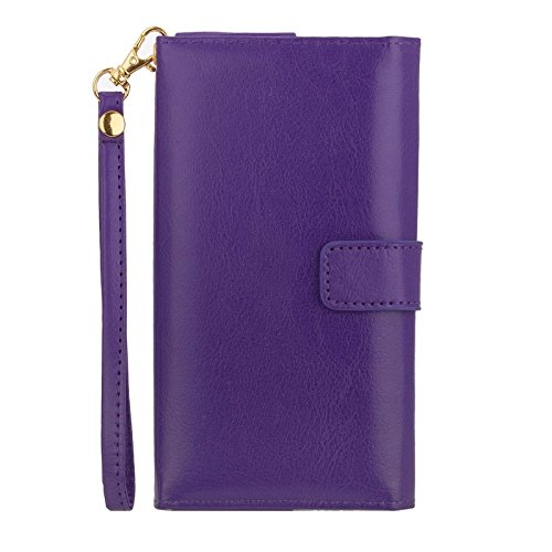 Phone case & Hülle Für IPhone 6 / 6S / 6S / 5 / 5S / 5C, Sony Xperia E4 / M4 Aqua 5.0 Zoll Universal Crazy Pferd Textur Tragen Fällen mit Touchscreen & Chain & Card Slots ( Color : Brown ) Purple