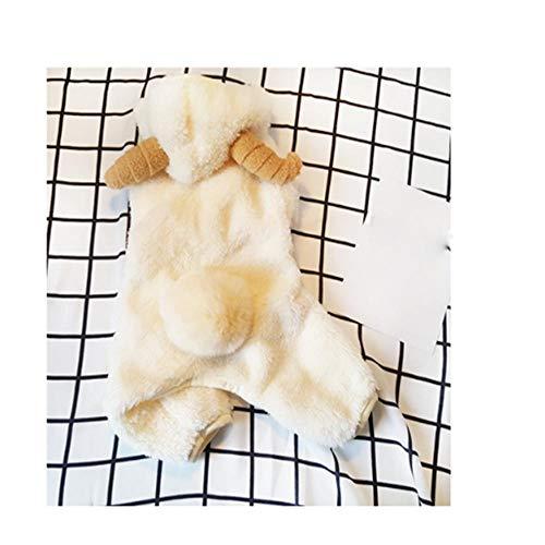 (LVRXJP12 Hundekleidung Samt Vierbeinige Kleidung Baumwolle Thickening Schafe Modellierung schöne Transfiguration Warmhalten Beige Universal, m)