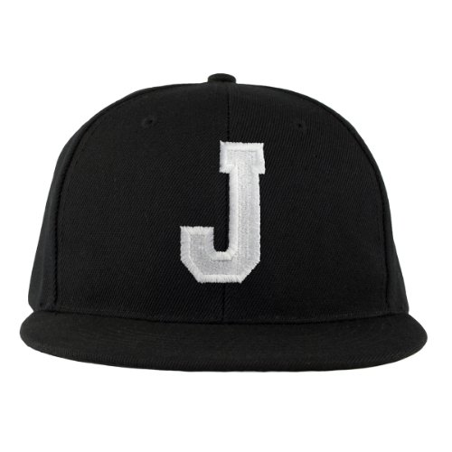 Baseball Cap Alle Buchstaben A-Z Bad Hair Day schwarz with Adjustable Strap Snapback Morefaz (TM) (J)