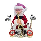 LoveLeiter Elektrische Santa Toys Weihnachtsmann Reiten Rentier Plüsch Spielzeug Desktop Dekoration Ornamente Weihnachtsmann singender und Tanzender Treppen steigen Santa für Weihnachten zu Hause