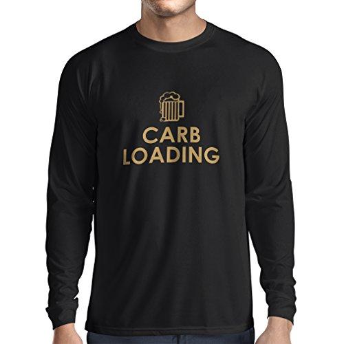 Langarm Herren t shirts Carb Loading - lustige Fitness Zitate, Fitnessstudio Kleidung (Small Schwarz Gold) (Kleidung Butter Brot)