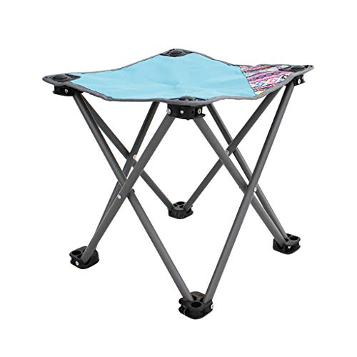 FH Tabouret Pliant Portatif, Petite Chaise De Pêche en Plein Air, Voiture Mazar De Loisirs De Plage Couverte 33 × 33 × 34 Cm, Bleu