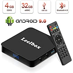 Leelbox TV Box Android 9.0【4GB+32GB】 Q4 Boîtier TV RK3328 Quad Core 2.4GHz Support BT 4.0/WiFi/3D/4K/H.265 [2019 Dernière Version]