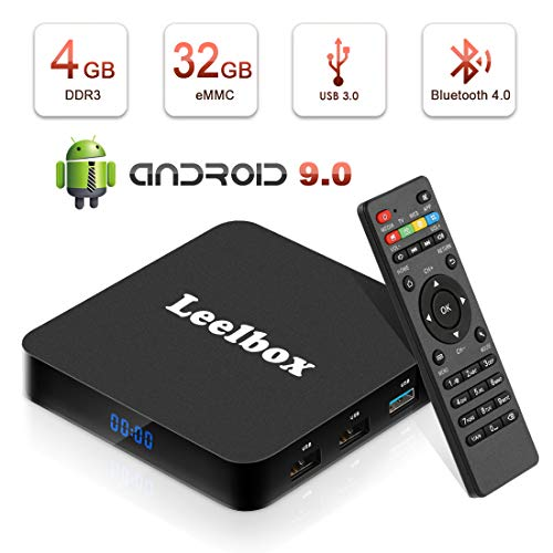 Android TV BOX 9.0[Ultima Versione 2019],Leelbox TV Box Android Q4 RK3328 Quad Core 64 bit Smart TV BOX con Wi-Fi integrato 2.4G /LAN100M , Uscita HDMI, Box TV H.265 UHD 4K 3D [4 GB RAM+32 GB ROM]