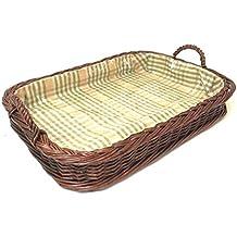 Chic Antique Rattan Tablett Korb Storage Quadratisch Frz Natur 1