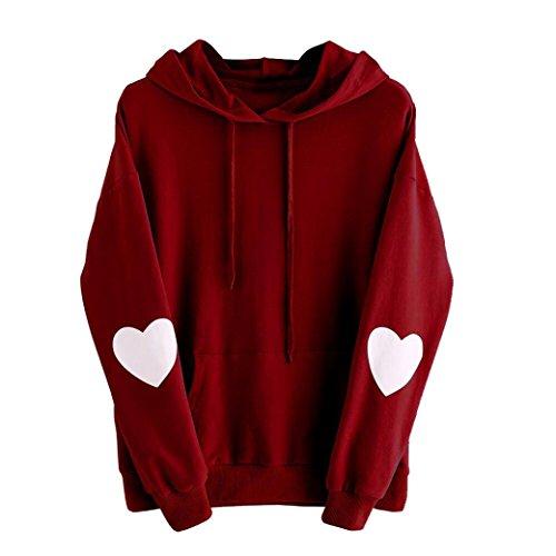 Damen Langarm Herz Print Hoodie Sweatshirt Jumper Kapuzenpullover übergröße (M, Weinrot) (Einhorn Kapuze)