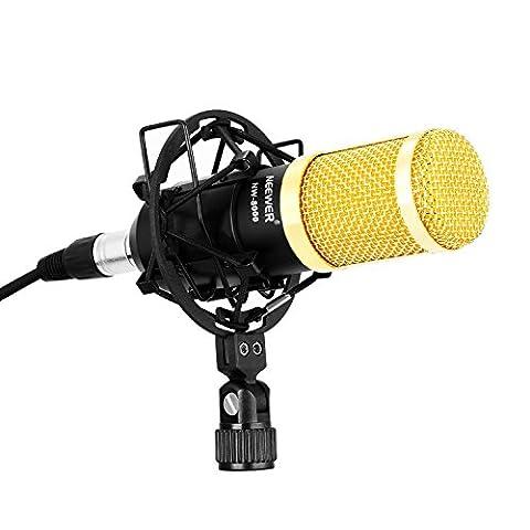 Neewer NW-8000 Micro d'Enregistrement et Radiodiffusion Professionnel pour Studio, y Compris (1) Microphone à Condensateur Professionnel, (1) Montage de Antichoc pour Micro, (1) Anti-vent en Mousse, (1) Câble XLR 3,5 mm (Or)