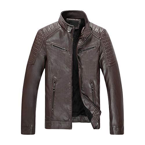 ODRD Herren Herbst Winter Retro Zipper Stand Halsband Solide Nachahmung Leder Mantel Outwear - Männer Warm Cardigan Strickjacke Coat Trenchcoat Daunenjacke Coat - Sweatshirt Jacke -