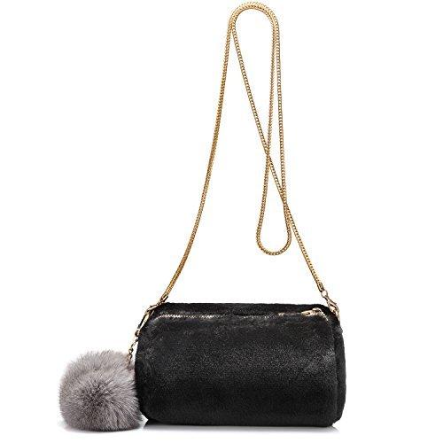 Borse tracolla borse di passa-corpo pochette portafoglio di pochette sacchetti di spalla per le donne pelliccia artificiale artificiale coniglio leggero nero