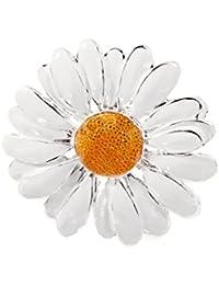 Broche de Mujer Flor Margarita Alfiler Esmalte Plateado 4,5 x 4,5 cm