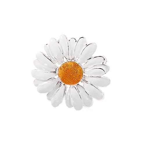 Damen-Brosche Blume Margerite Emaille Anstecknadel Versilbert