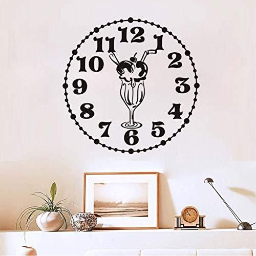 Zfkdsd Neues Design Kreative Lebensmittel Wandaufkleber Küche Raumdekoration Uhr Mit Eis Diy Vinyl Wandaufkleber Home Decals Kunst 44 * 44 Cm - Lebensmittel Uhr