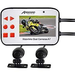 AZWE Caméra de moto, système de caméra de sécurité vidéo double objectif 1080P avec écran de 2,7 pouces, G-Sensor étanche