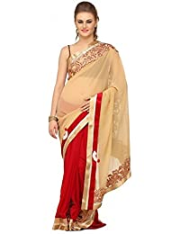 Winza Women's Georgette And Net Half And Half Saree With Blouse